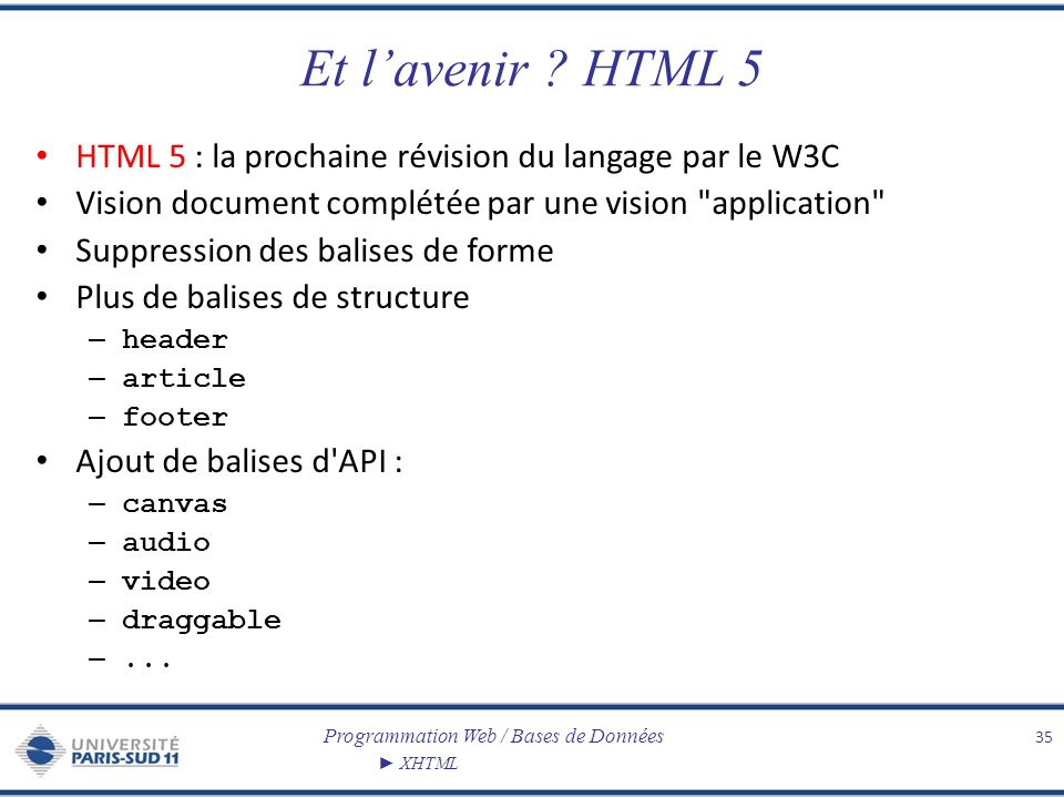 Et l'avenir HTML 5 HTML 5 : la prochaine révision du langage par le W3C. Vision document complétée par une vision application