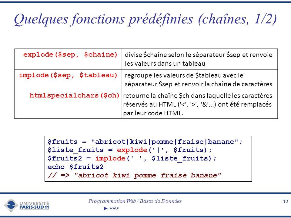 Quelques fonctions prédéfinies (chaînes, 1/2)