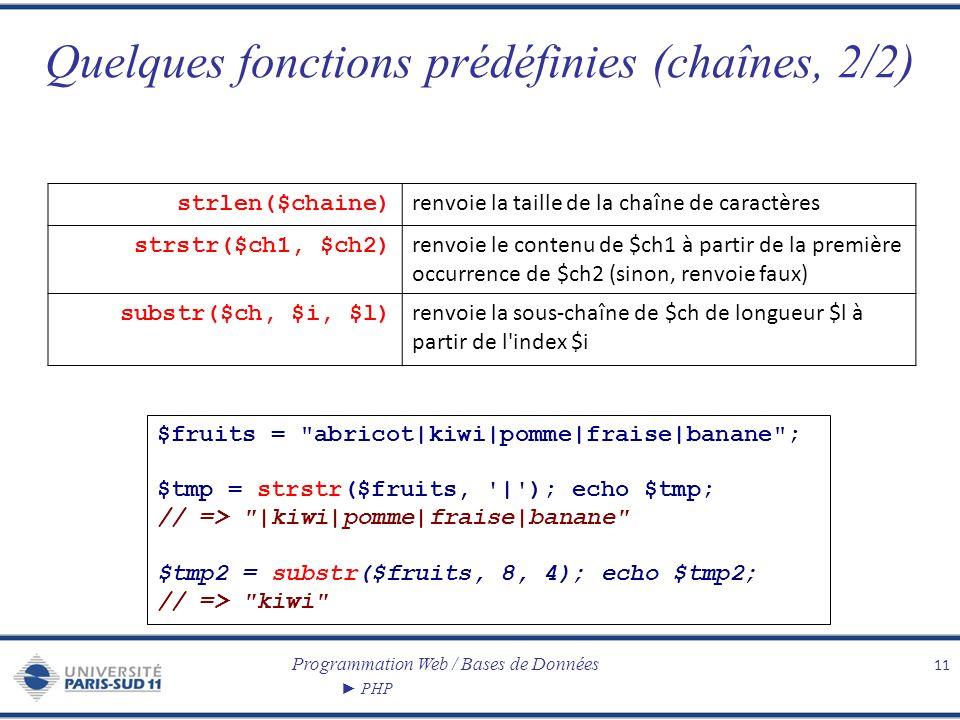 Quelques fonctions prédéfinies (chaînes, 2/2)