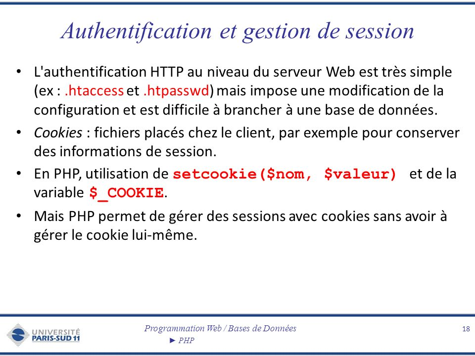 Authentification et gestion de session