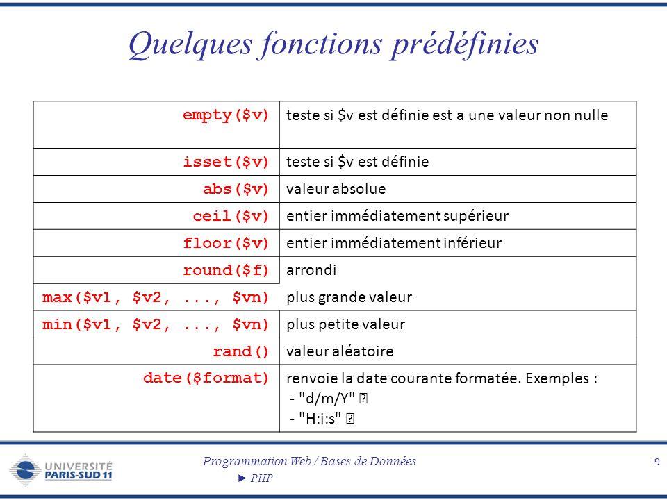 Quelques fonctions prédéfinies
