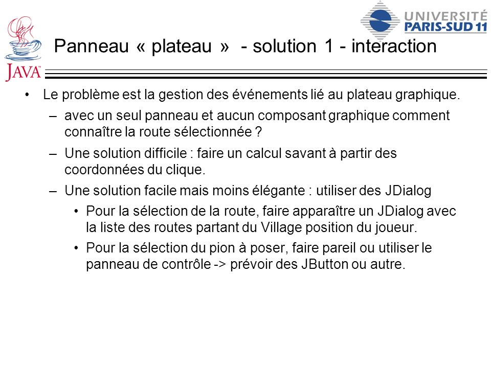 Panneau « plateau » - solution 1 - interaction