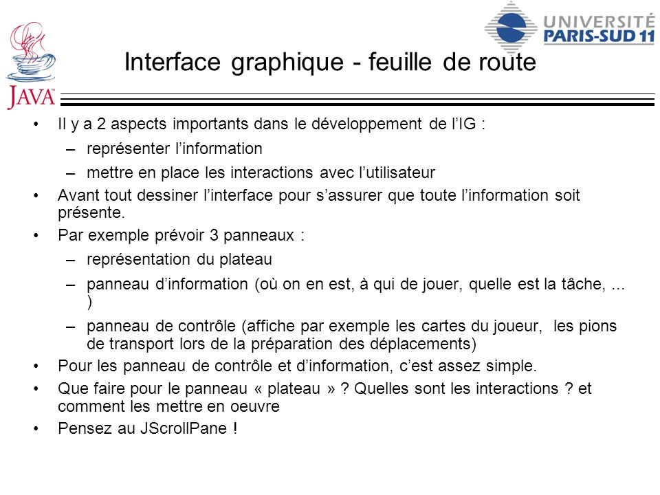 Interface graphique - feuille de route