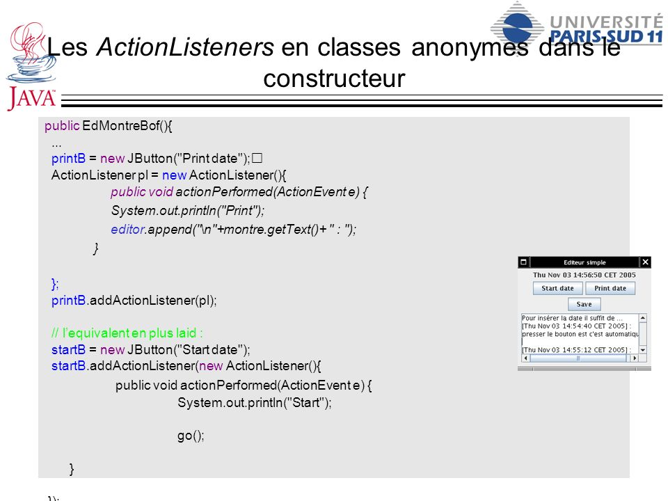 Les ActionListeners en classes anonymes dans le constructeur