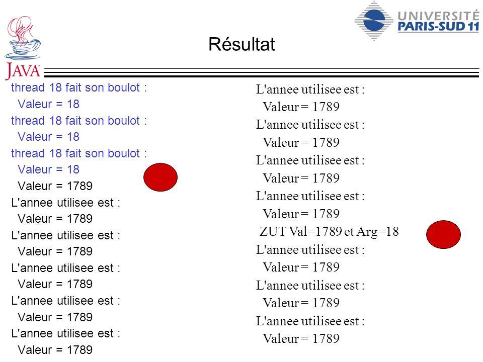 Résultat L annee utilisee est : Valeur = 1789 ZUT Val=1789 et Arg=18