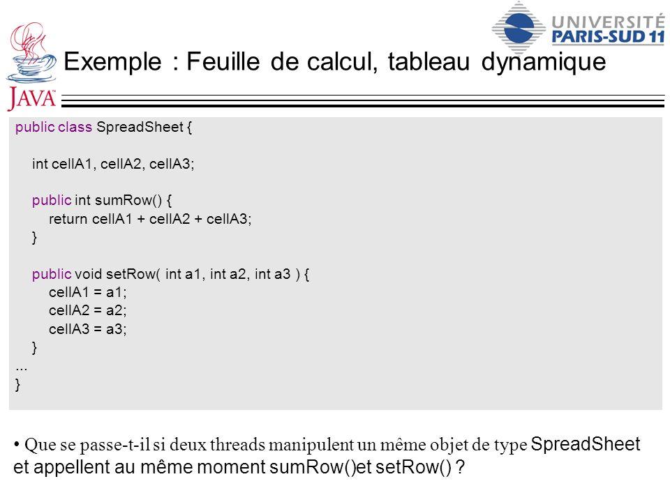 Exemple : Feuille de calcul, tableau dynamique
