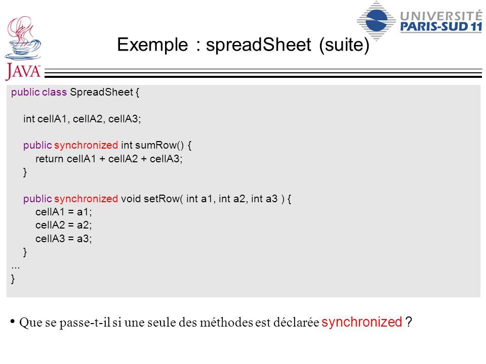 Exemple : spreadSheet (suite)