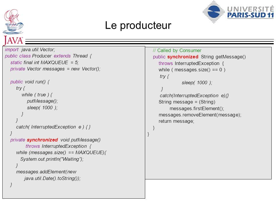 Le producteur import java.util.Vector;