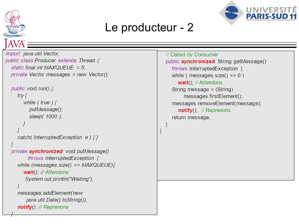 Le producteur - 2 import java.util.Vector;