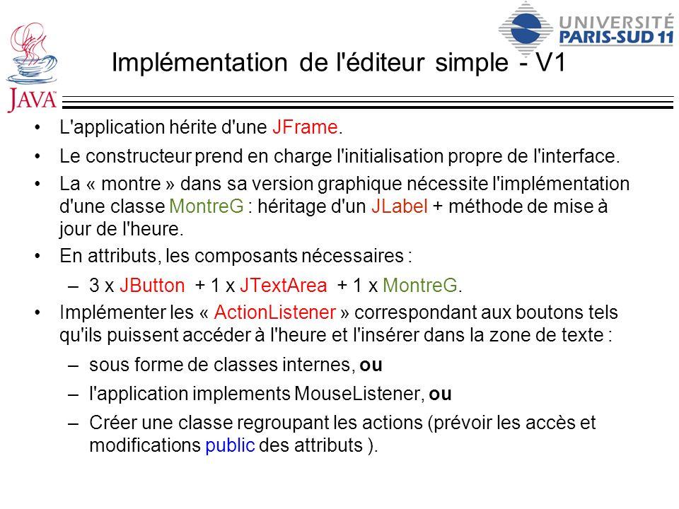 Implémentation de l éditeur simple - V1