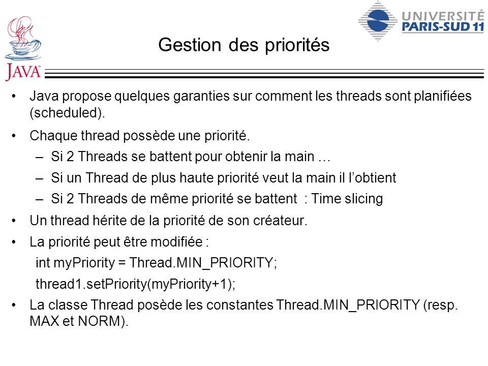 Gestion des priorités Java propose quelques garanties sur comment les threads sont planifiées (scheduled).
