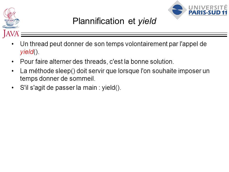 Plannification et yield