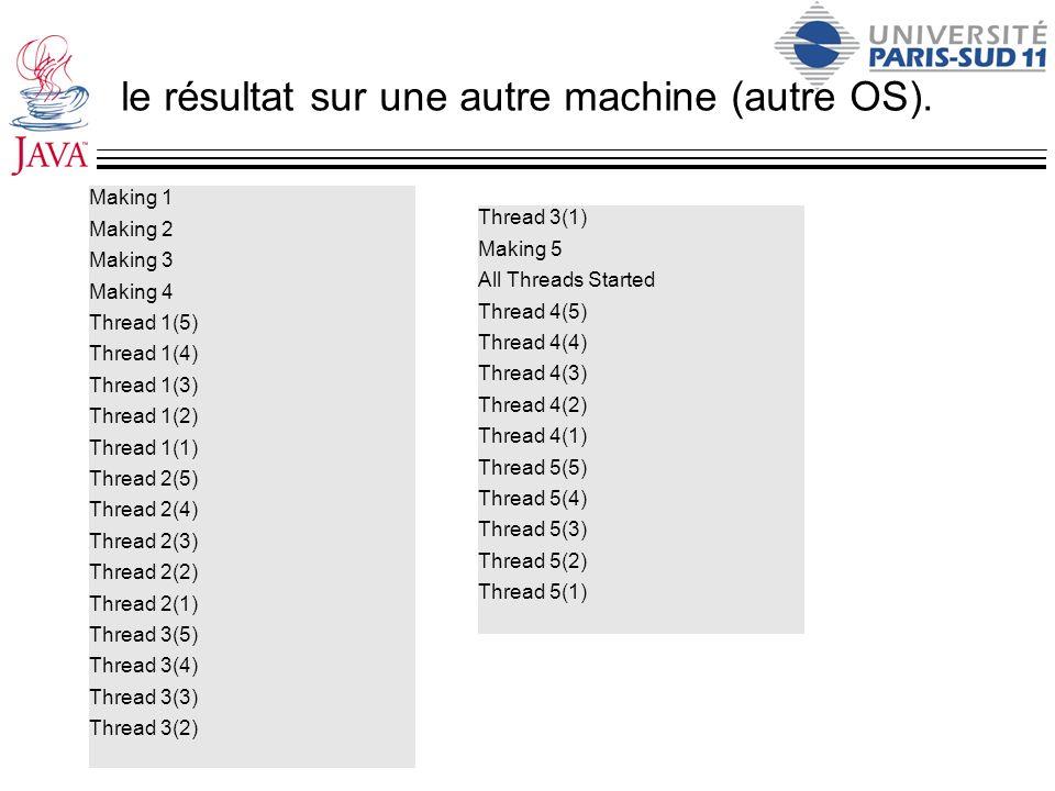 le résultat sur une autre machine (autre OS).