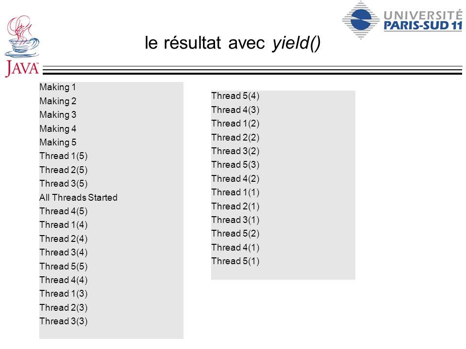 le résultat avec yield()
