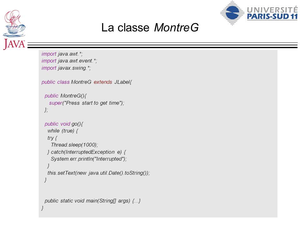 La classe MontreG import java.awt.*; import java.awt.event.*;