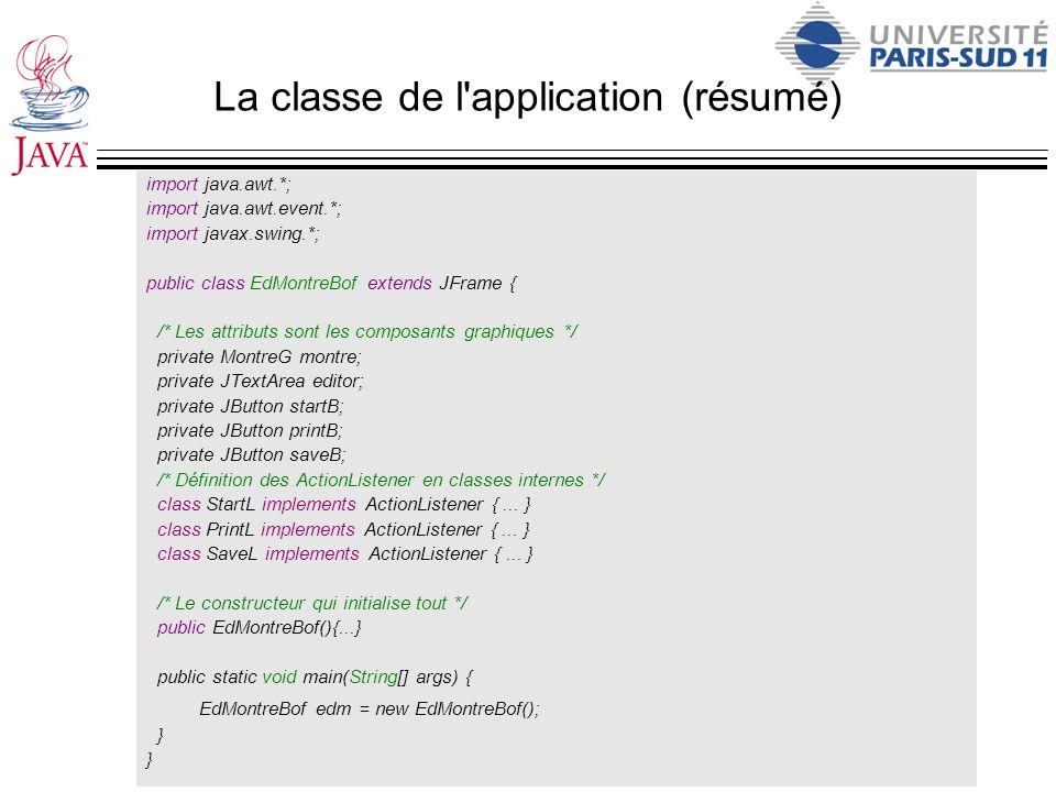 La classe de l application (résumé)