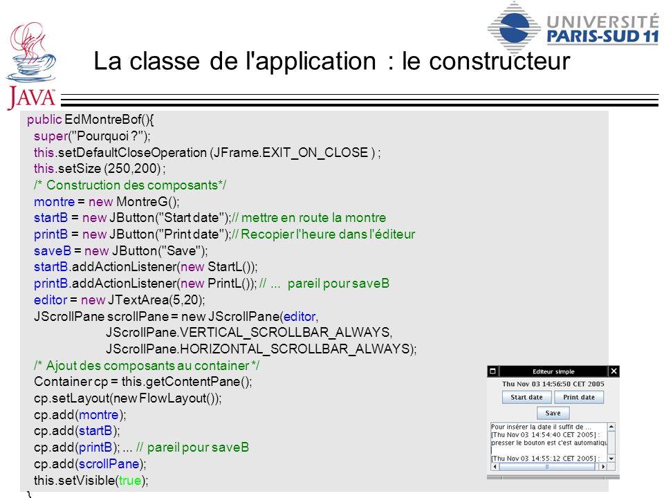 La classe de l application : le constructeur