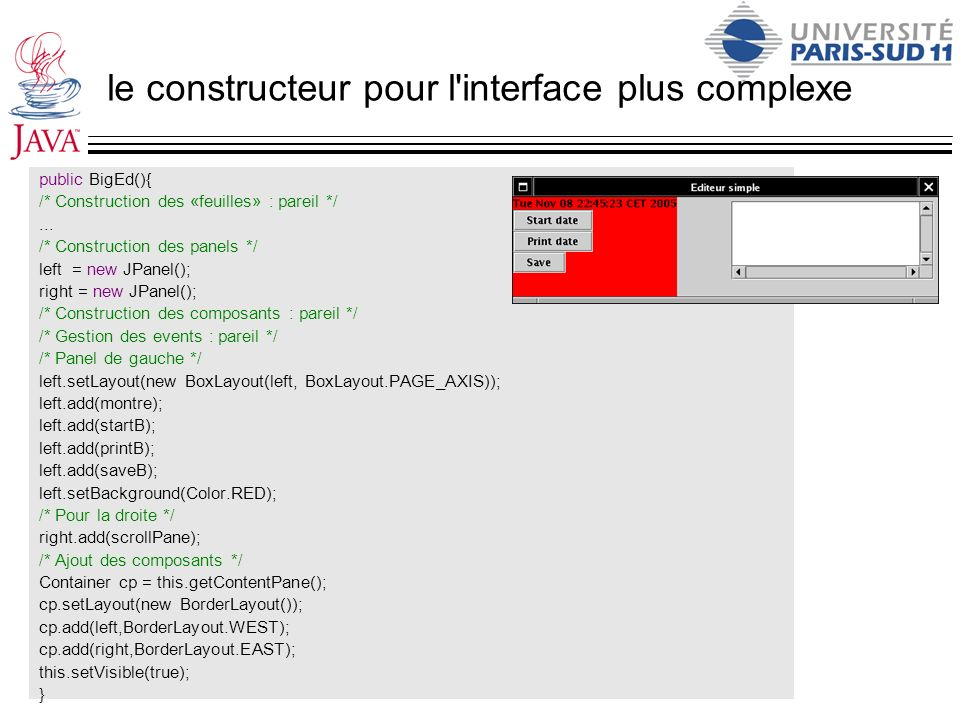le constructeur pour l interface plus complexe