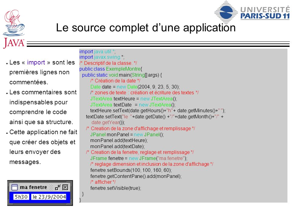 Le source complet d'une application