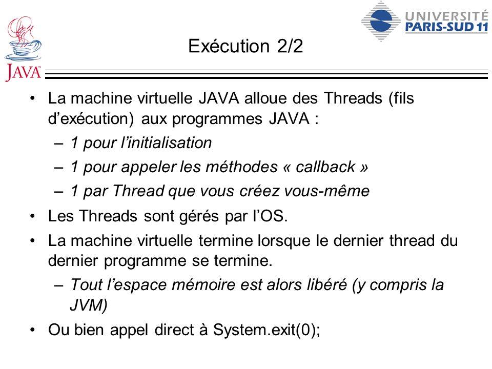 Exécution 2/2 La machine virtuelle JAVA alloue des Threads (fils d'exécution) aux programmes JAVA :