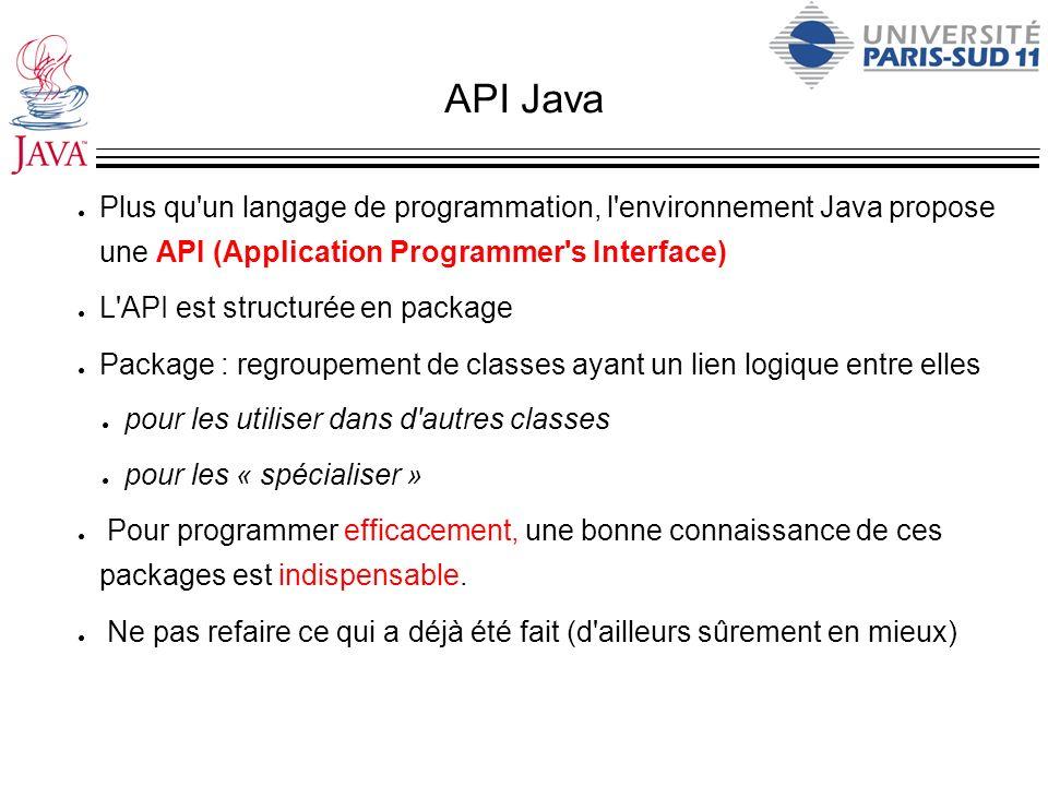 API JavaPlus qu un langage de programmation, l environnement Java propose une API (Application Programmer s Interface)