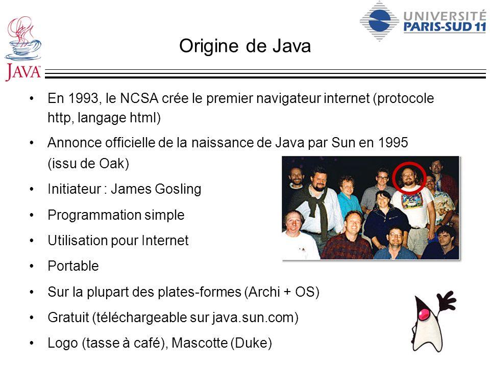 Origine de Java En 1993, le NCSA crée le premier navigateur internet (protocole http, langage html)