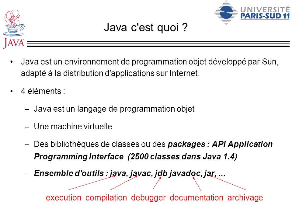 Java c est quoi Java est un environnement de programmation objet développé par Sun, adapté à la distribution d applications sur Internet.