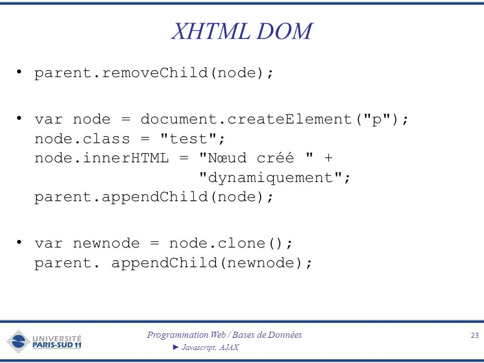 XHTML DOM parent.removeChild(node);