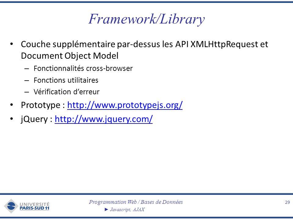 Framework/Library Couche supplémentaire par-dessus les API XMLHttpRequest et Document Object Model.
