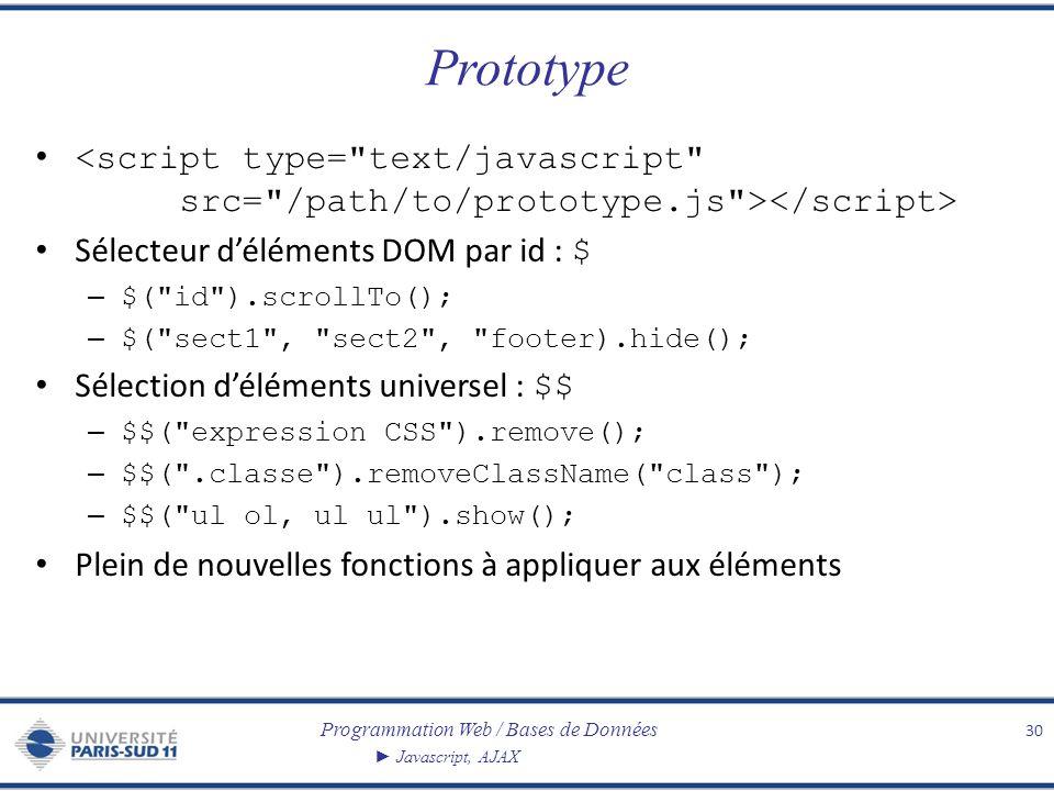 Prototype <script type= text/javascript src= /path/to/prototype.js ></script> Sélecteur d'éléments DOM par id : $