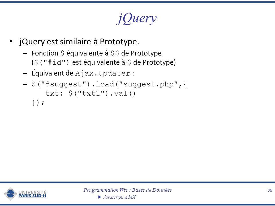 jQuery jQuery est similaire à Prototype.