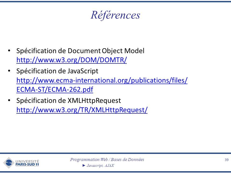 Références Spécification de Document Object Model http://www.w3.org/DOM/DOMTR/