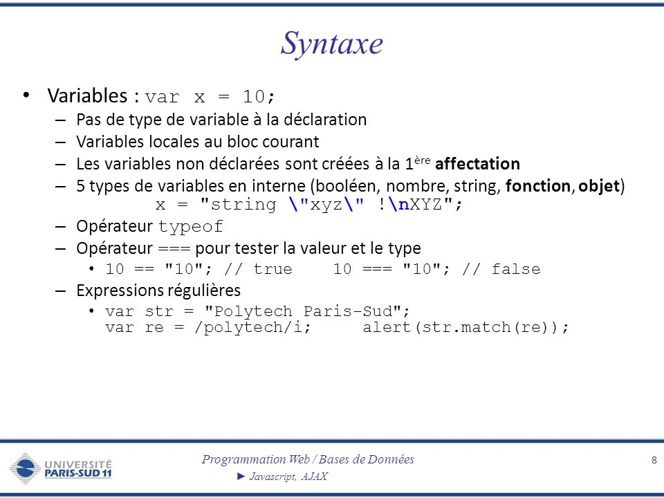 Syntaxe Variables : var x = 10;