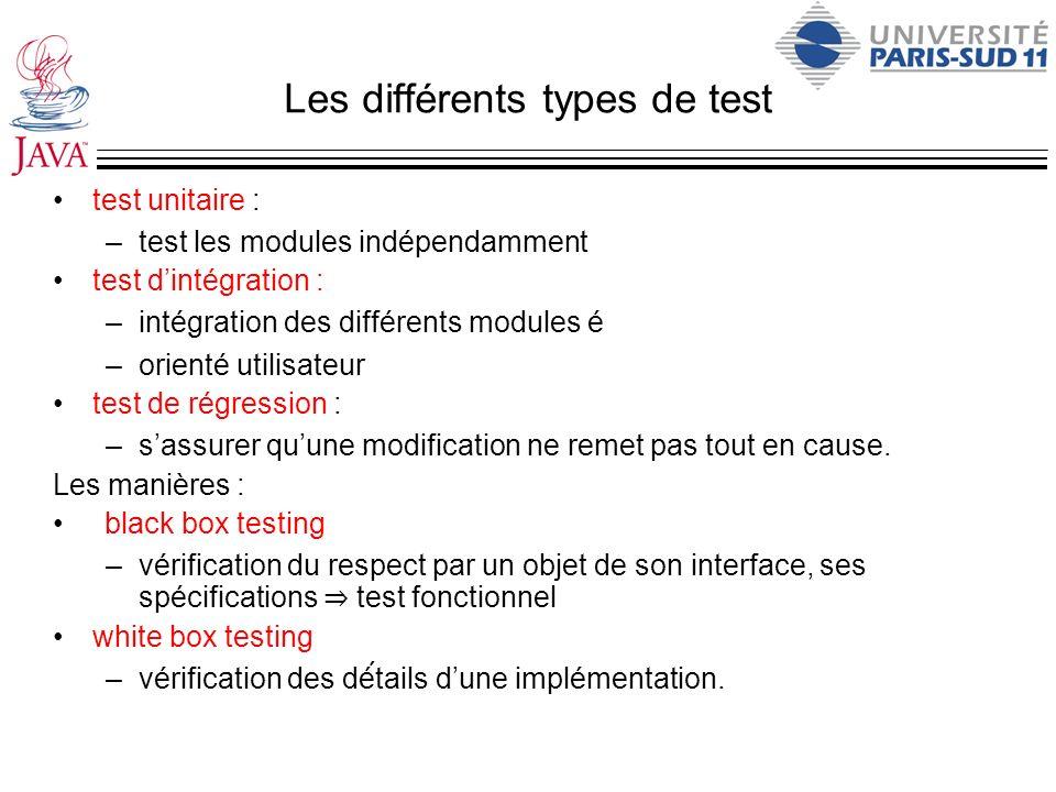 Les différents types de test