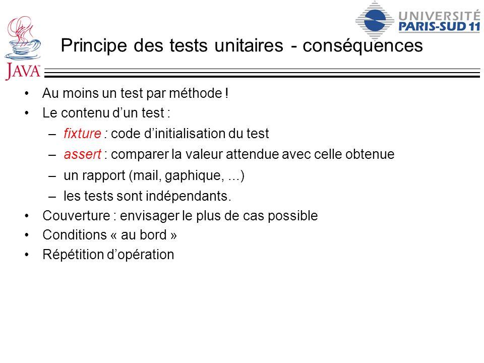 Principe des tests unitaires - conséquences