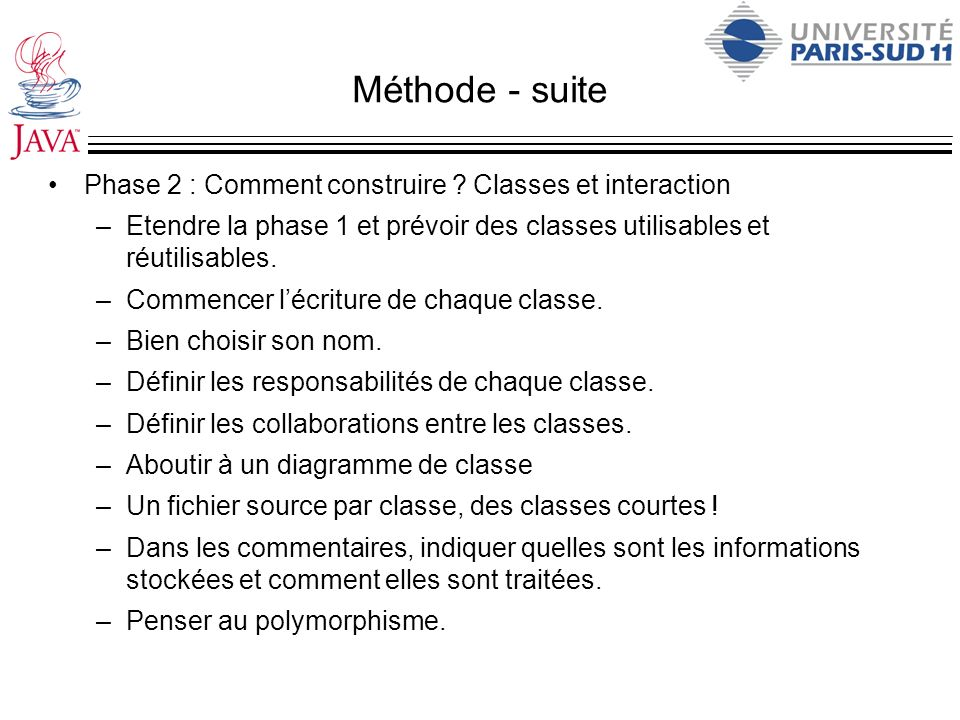 Méthode - suite Phase 2 : Comment construire Classes et interaction