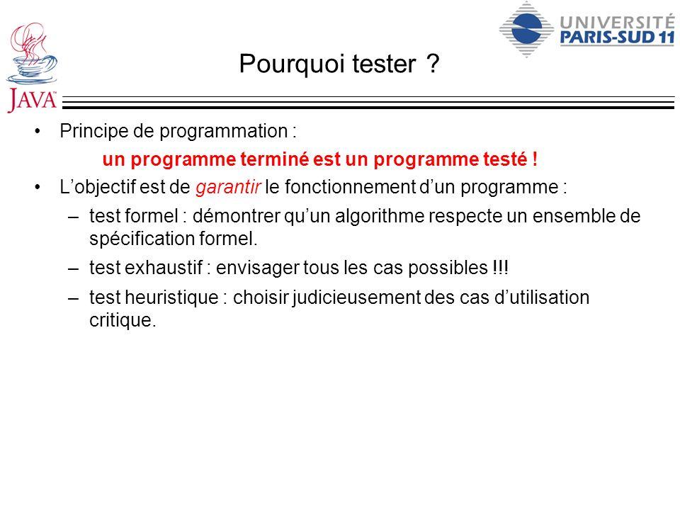 Pourquoi tester Principe de programmation :