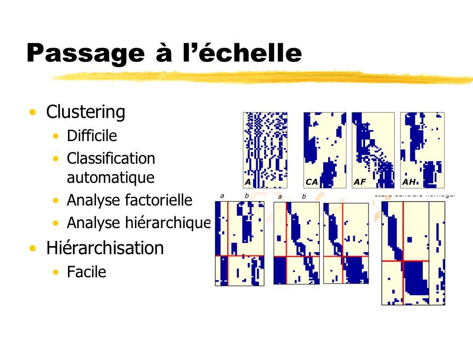 Passage à l'échelle Clustering Hiérarchisation Difficile
