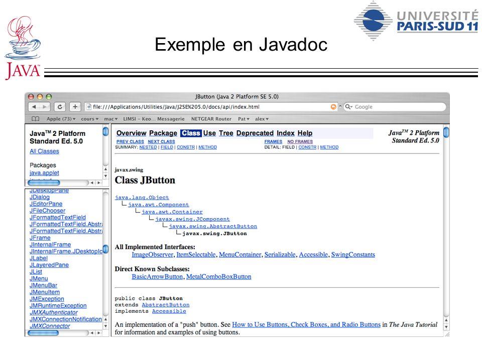 Exemple en Javadoc