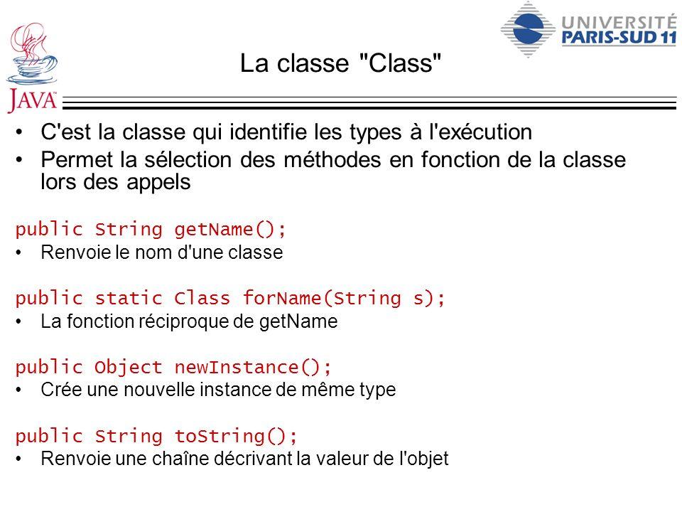 La classe Class C est la classe qui identifie les types à l exécution. Permet la sélection des méthodes en fonction de la classe lors des appels.