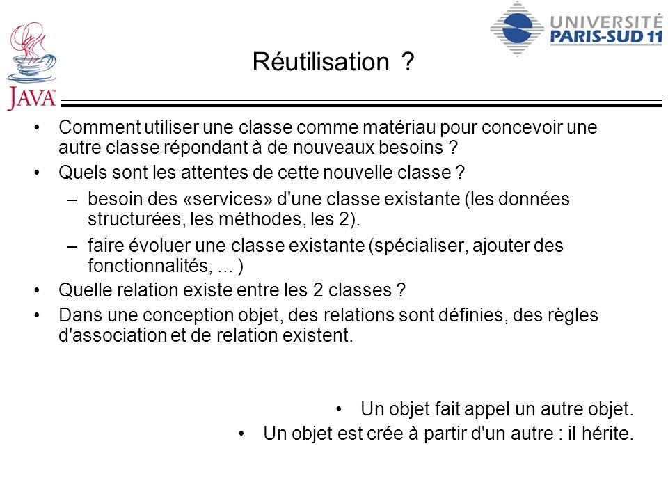 Réutilisation Comment utiliser une classe comme matériau pour concevoir une autre classe répondant à de nouveaux besoins