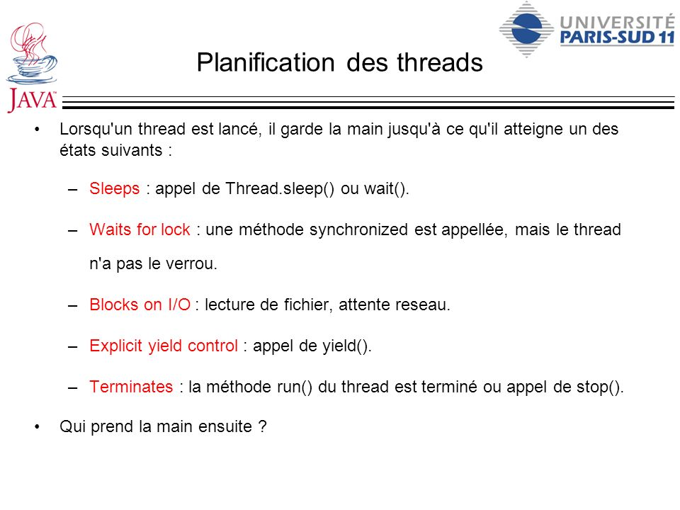 Planification des threads