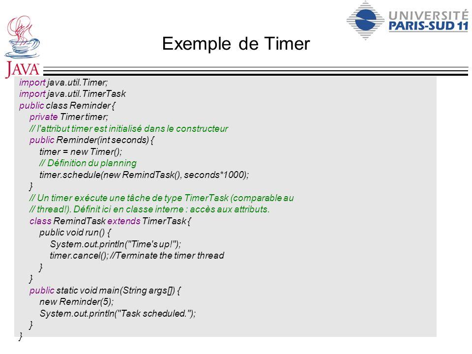 Exemple de Timer import java.util.Timer; import java.util.TimerTask