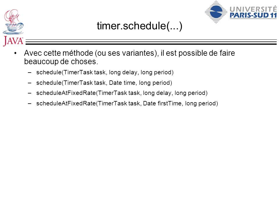 timer.schedule(...) Avec cette méthode (ou ses variantes), il est possible de faire beaucoup de choses.