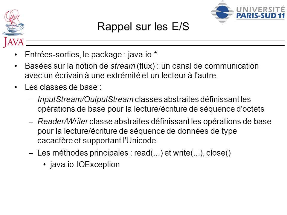 Rappel sur les E/S Entrées-sorties, le package : java.io.*