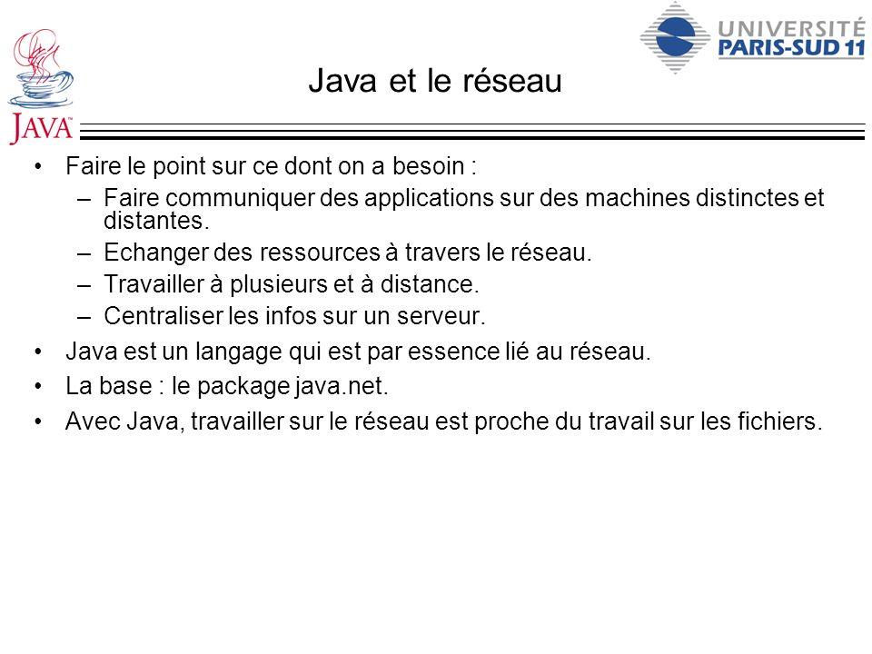 Java et le réseau Faire le point sur ce dont on a besoin :