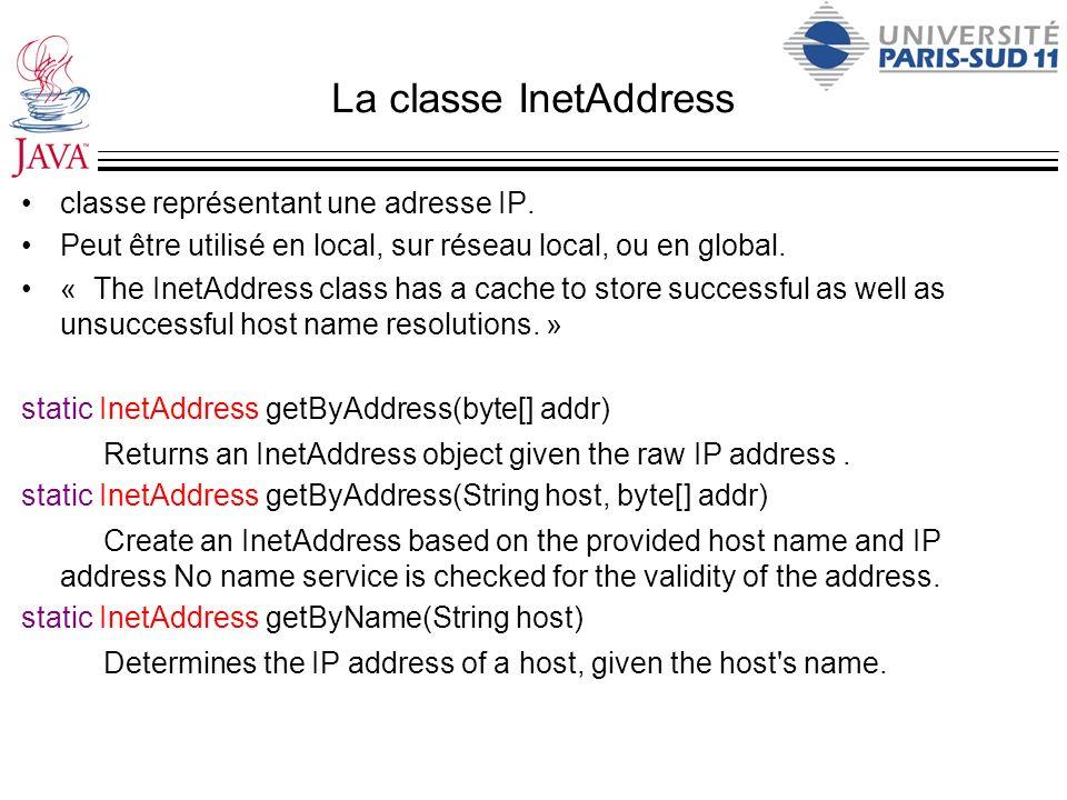 La classe InetAddress classe représentant une adresse IP.