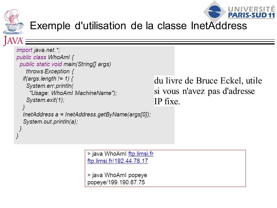 Exemple d utilisation de la classe InetAddress