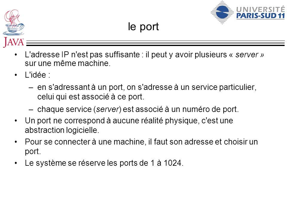 le port L adresse IP n est pas suffisante : il peut y avoir plusieurs « server » sur une même machine.