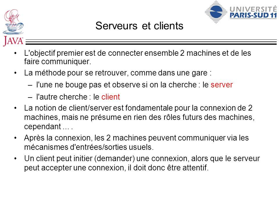 Serveurs et clients L objectif premier est de connecter ensemble 2 machines et de les faire communiquer.